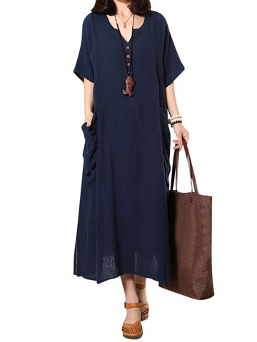 O-Newe Casual Embroidered Pockets Split Hem Button Maxi Dress