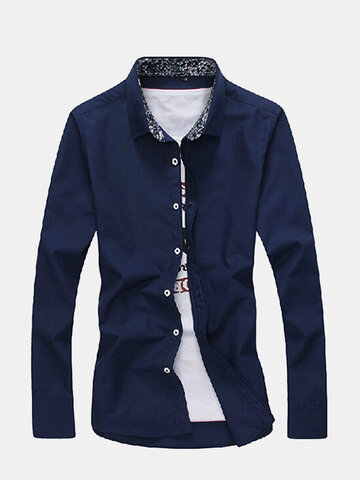 Spring Fall Mens Fashion Casual Long Sleeve Slim Fit Business Dress Shirts