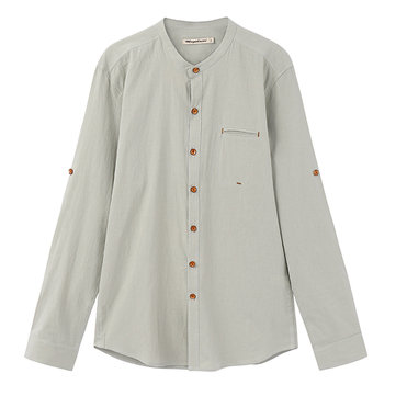 Chinese Style Cotton Linen Long Sleeve Chest Pocket Stand Collar Dress Shirts for Men