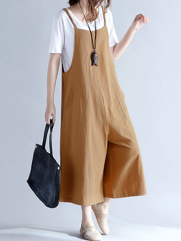 O-NEWE Casual Women Loose Solid Strap Pocket Overall Jumpsuits