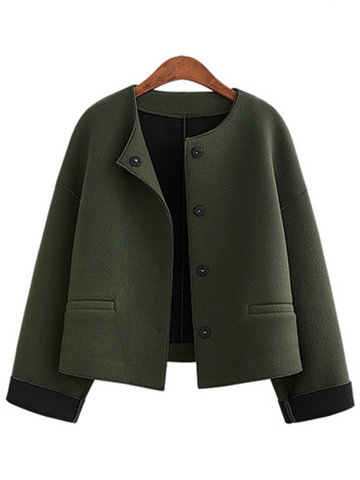 Casual Solid Color Pockets Button Fly Women Cardigans