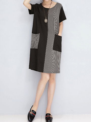 Casual Patchwork Stripe Short Sleeve O-neck Dress For Women