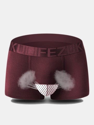 ZK Breathable Sexy Ice Silk Underwear Mesh U Convex Pouch Boxers For Men