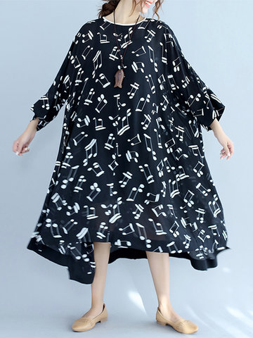 Casual Note Print Irregular Loose Long Sleeve O-neck Women Dresses