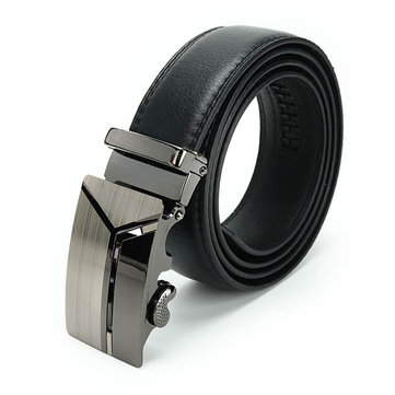 Men's Leather Automatic Buckle Belt Business Waist Strap Belt Waistband