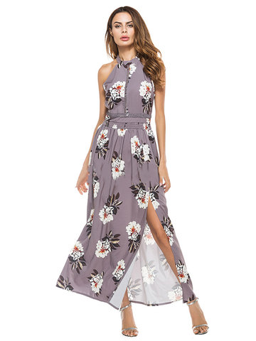 Bohemian Floral Print Hollow Splited Halter Sleeveless Maxi Dresses