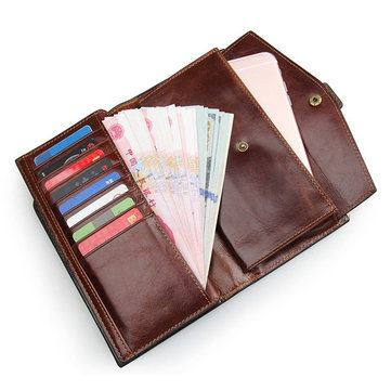 Genuine Leather Business Wallet 20 Card Slots Card Holder Phone Bag For Men