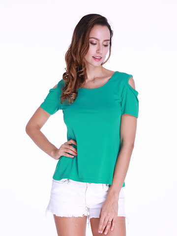 Women Back Lace Hollow Short Sleeve Sexy Summer T-shirts
