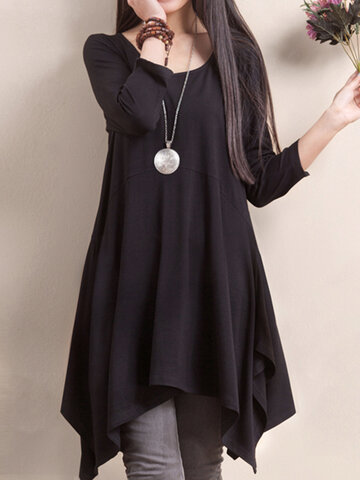 O-Newe Plus Size Women Solid Long Sleeve Asymmetric Hem Mini Dress