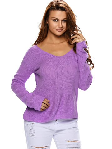 Women V-neck Long Sleeve Pure Color Loose Knit Sweaters