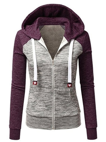 Casual Hooded Stitching Color Sweatshirts For Women