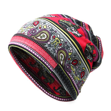 Women Multi-function Print Bonnet Hats Scarf