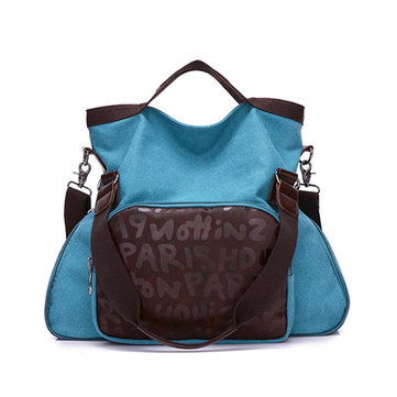 Women Vintage Canvas Tote Bags Front Pocket Shoulder Bags Crossbody Bags Capacity Shopping Bags