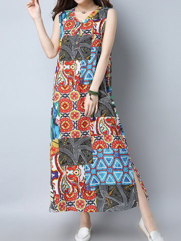 Folk Style Print Patchwork Sleeveless V-neck Dress For Women