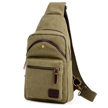 Casual Vintage Chest Bag Canvas Crossbody Bag Solid Shoulder Bag For Men