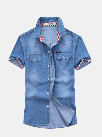 Casual Fashion Denim Double Chest Pockets Short Sleeve Slim Fit Dress Shirts for Men