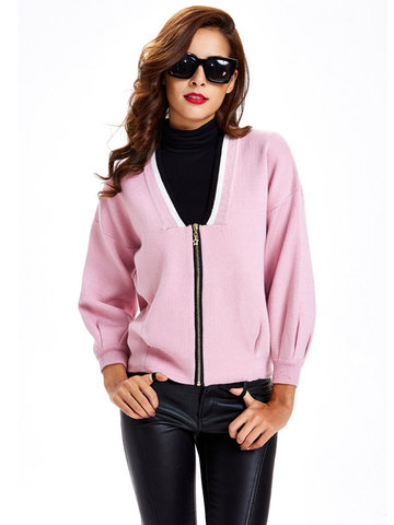OL  Pure Color Knitted Zipper V-neck Women Short Sweater