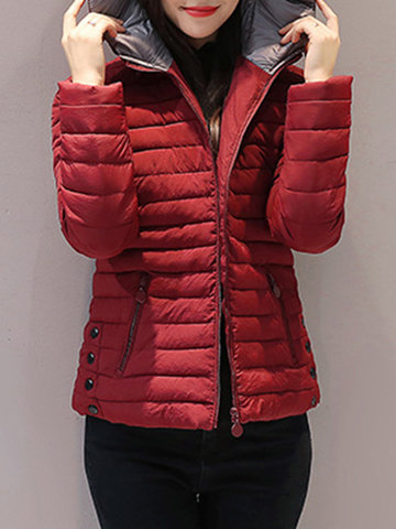 Pure Color Hooded Cotton Coats