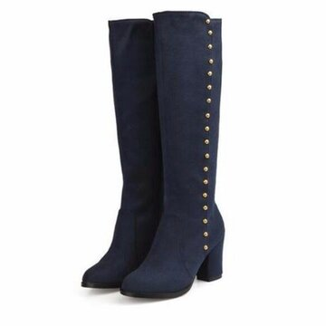 Button Rivet Over The Knee Zipper Chunky Heel Boots