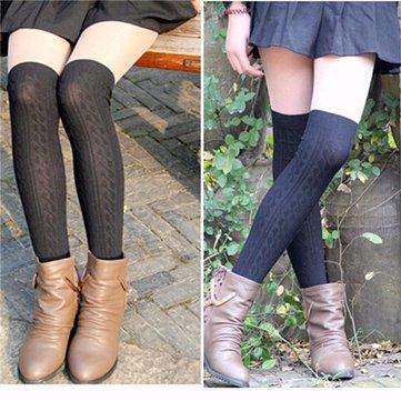 Женщины вязание хлопка над коленом чулки колготки высокие носки колготки