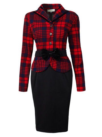 Elegant Plaid Printed Houndstooth Bow Patchwork Women Dress