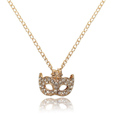 Rhinestone Gold Silver Fox Mask Pendant Necklace