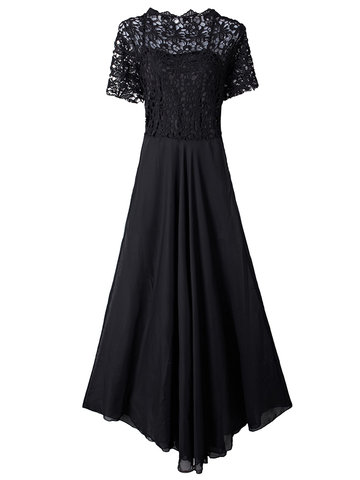 Вечерняя вечерняя кружевная полая лоскутная ткань Прозрачная черная элегантная женская макси-платье