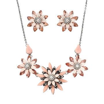 JASSY® Elegant Set Multi Crystal Pink Flowers Изысканный рождественский подарок для женщин