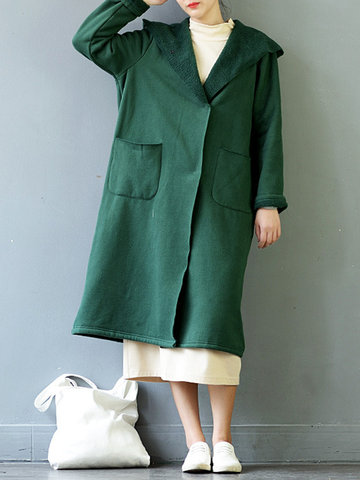 Pure Color Mid-Long Cotton Coats