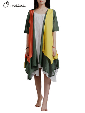 O-NEWE Ethnic Half Sleeve Contrast Color Cardigan