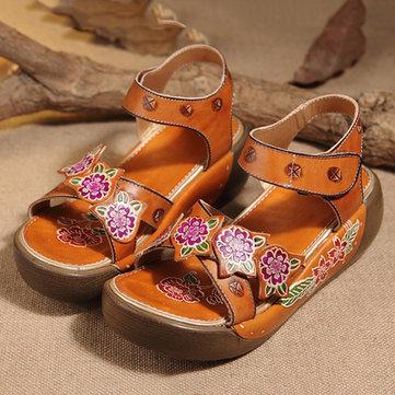SOCOFY Hook Loop Open Toe Leather Flower Printing Retro Sandals