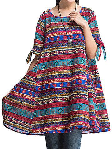 O-NEWE Китайский Стиль Геометрические Печатные Платья для женщин