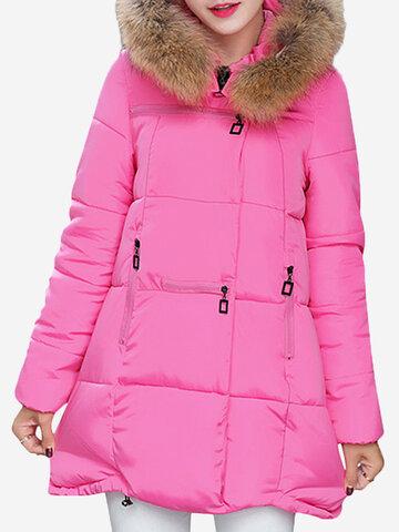 Abrigo de plumón de color puro con capucha y piel sintética de manga larga para mujeres