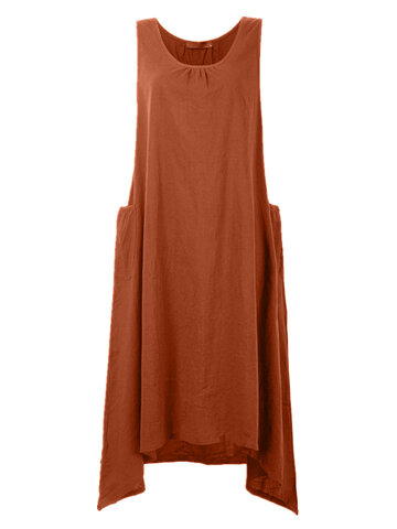 Vintage Women Sleeveless Pockets High Low Pure Color Maxi Dresses