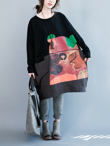 Loose Women Printed Stitching Color Contrast Long Sleeve Dress