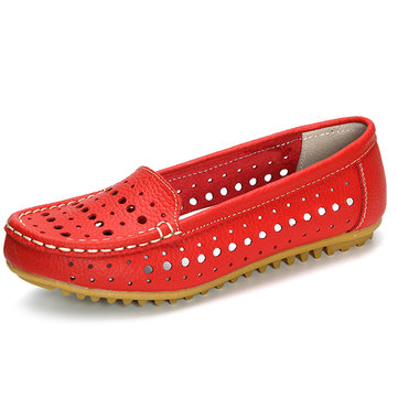 Hollow Out Comfortable Leather Loafers Soft Sole Casual Shoes