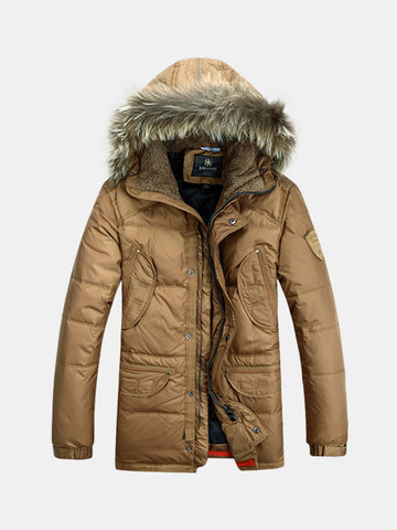 Winter Thicken Warm Solid Color Multi Pockets Detachable Hood Jackets for Men