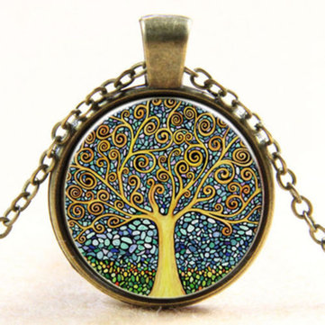 Vintage Time Stone Colorful Life of Tree Sweater Necklace