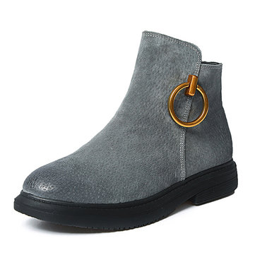 Metal Leather Ankle Boots