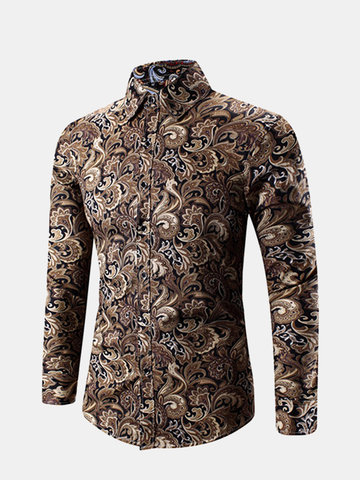 Plus Size Spring Business Personality Floral Printing Long Sleeve Dress Shirts for Men