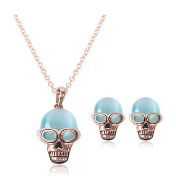 Alloy Inlaid Opal Skull Necklace Earrings Jewelry Set