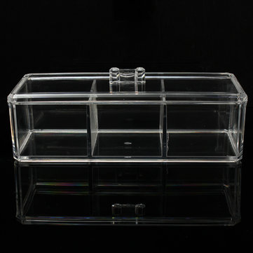 3 Compartments Clear Acrylic Make Up Organiser Cosmetic Display Storage Jewellery Case
