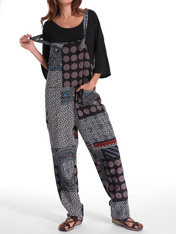 Gracila Polka Dot Print Patchwork Pocket Loose Jumpsuit For Women