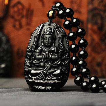 Simple Unisex Necklace Black Obsidian Avalokitesvara Necklace
