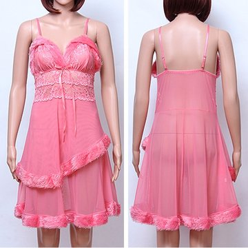 Sexy Mesh Fluff Hem See Through Spaghetti Stress Nightdress для женщин