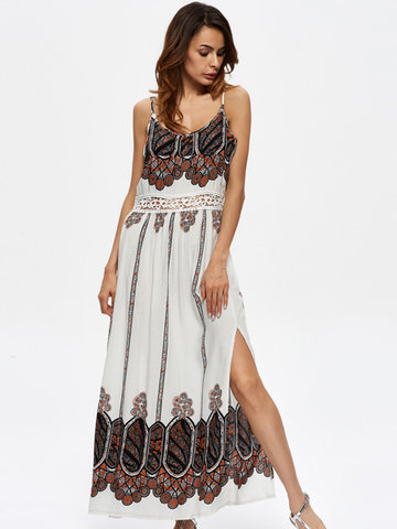 Print Hollow Slit Irregular Hem Camisole O-neck Maxi Dress For Women