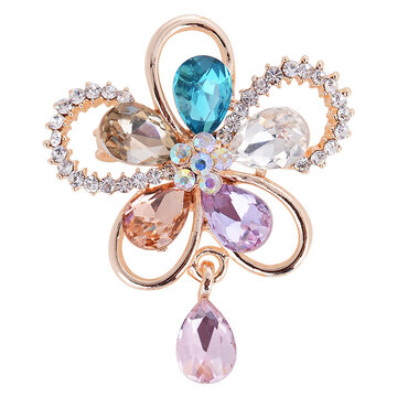 Elegant Crystal Flower Brooches Colorful Scarf Jewelry Clothing Accessories for Her
