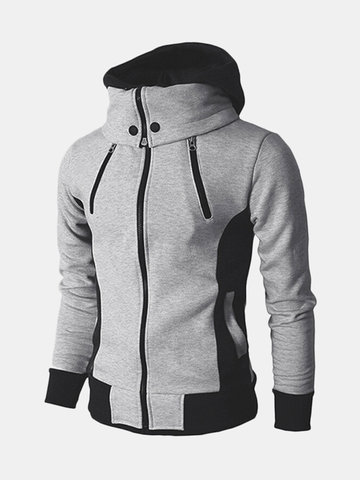 US Size S-3XL Thick Warm Lined Hoodies Casual Stitching Color Zipper Tops Sweatshirt for Men