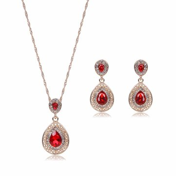Drop Jewelry Set Alloy Rhinestone Crystal Necklace Earrings Set
