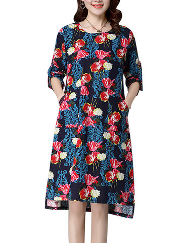 Casual Printed O-Neck Long Sleeve Pocket High Low Dress For Women